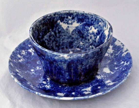 Very Rare Large 19th C Handleless Dark Blue Spongeware MUSH CUP & SAUCER Cup has OLd Hairline All In Very Good Vintage Condition Free Ship