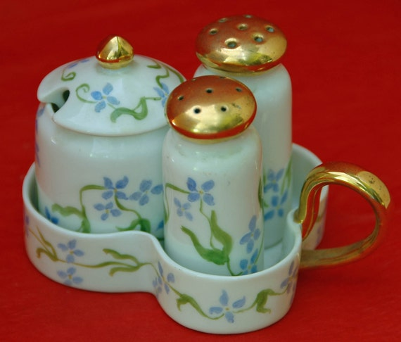 Price Reduced Ca 1946 Vintage CONDIMENT 'JAPAN' HANDPAINTED 4 pce Porcelain Set: Salt, Pepper, Mustard Jar & Container dated Exc Condition