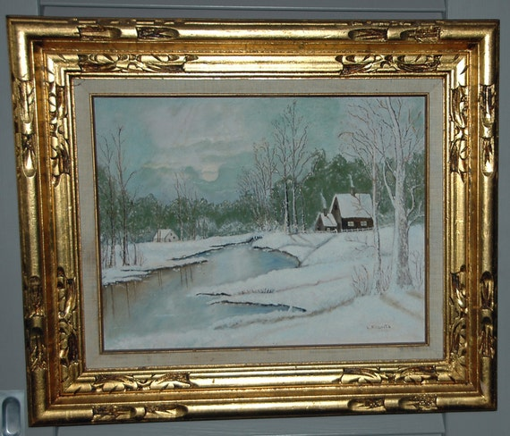 Vintage WINTER LANDSCAPE IMPRESSIONISM Oil on Board Fine Art Signed L Roberts 1976 Original Frame Excellent Condition,