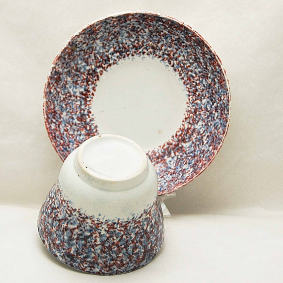 "Antique 19th C. SPATTERWARE RED & BLUE on White Sponged Handleless Cup n Saucer Cup Measures 2 6/8"" h x 3 6/8"" di Saucer Measures 5 6/8"" di"