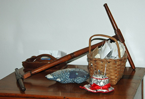 Rare Antique WOODEN NIDDY-NODDY Ca Early 1800s - Hand Carved, Hand Made All Original Yarn Winder Exc Condition