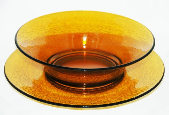 Beautiful Antique 'BY CRACKY' CRACKLE Glass Pattern 2 pc Set L. E. Smith Ca 1925 Amber Depression Glass Salad Bowl w/ Serving Plate Exc Cond
