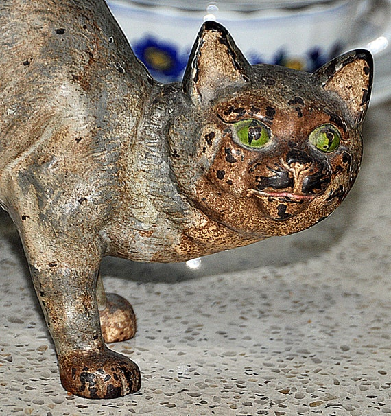 """Vintage Cast Iron CAT DOORSTOP in the Style of HUBLEY U S A 10 7/8"""" Tall x 8"""" Wide with Green Eyes, Original Paint"""