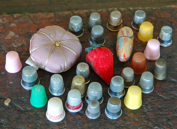 Reduced 25 Vintage THIMBLES PINCUSHION NEEDLE Case n Sharpener Assorted Some Plastic Colored Advertising Brass, etc Shipped U S P M Insured