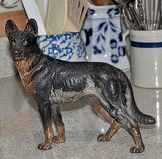Antique HUBLEY Cast Iron German Shepherd POLICE DOG Doorstop C1890 in Good Condition