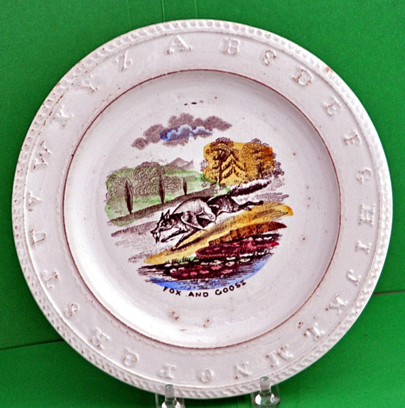 "Antique Staffordshire Childs A B C Plate ""FOX AND GOOSE"" 19th C 8""di Elsmore & Son England Very Good Antique Condition"