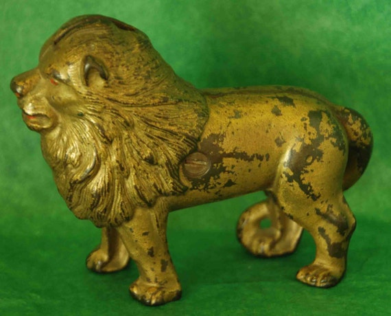 "Reduced Antique Small LION STILL BANK A C Williams Cast Iron C 1905-1931 Measures 4.5""– 4"" Original Screw Nice Patina Exc Vintage Condition"