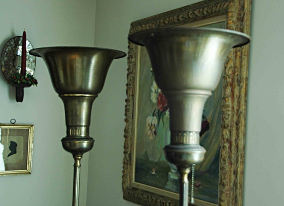 Reduced: Pr Vintage Elegant 1920s TORCHIERE FLOOR LAMPS French Style Metal W/ Shades V G Condition Missing One Chain Pick-Up by Appointment