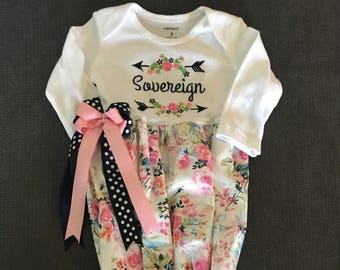 Newborn Girl Coming Home Outfit Personalized Floral Tribal Tee Pee Boho Layette Gown w//Beanie Layette Set Baby Girl Shower Gifts Newborn Hospital Outfit
