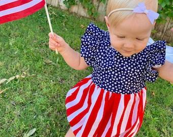 9e94a7e68 SALE, Stars and Stripes Bellevue Romper, 4th of July, Personalized Summer  Girl Romper, Monogrammed Romper, Patriotic, Embroidered Romper