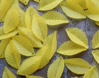 Acrylic Leaf Beads - 35X18mm Frosted Yellow Large Cherry Leaf Pendant Beads, 16 PC (INDOC172)
