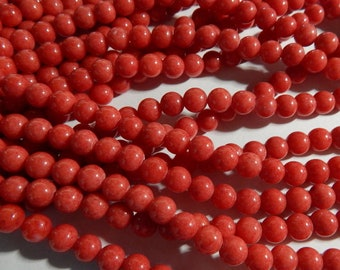 8mm Light Red Mashan Jade - Indian Red -  Round Polished Gemstone Beads, Full Strand (IND1C18)