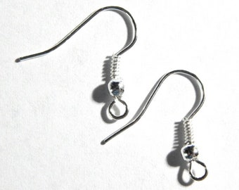 Silver Ear Wire Hooks - Silver Ball and Coil Earring Hooks - Earring Findings, 50 PC - 25 PAIR (INDOC11)