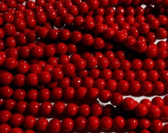 8mm Dark Red Mashan Jade - Lipstick Red -  Round Polished Gemstone Beads, Full Strand (IND1C18)