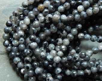 4mm Larvikite Round Polished Semi-Precious Beads, 15 Inch Strand (INDOC74)