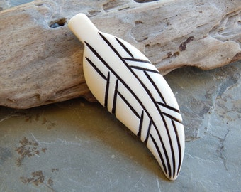 3 1/2 Inch Beautiful Black Etched Carved Feather Bone Pendant, 1 PC (INDOC79)