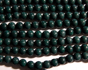 8mm Dark Green Mashan Jade Round Gemstone Beads,  Full Strand (IND1C39)