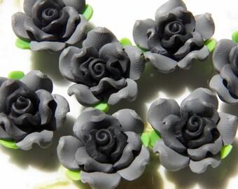 21mm Grey & Black Handmade Polymer Clay Flower Beads, 4 PC