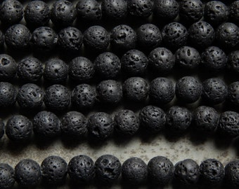 8mm Black Lightly Oiled Lava Rock Gemstone Beads, 15.5 Inch Strand (INDOC638)