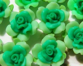 21mm Light and Dark Green Handmade Polymer Clay Flower Beads, 4 PC