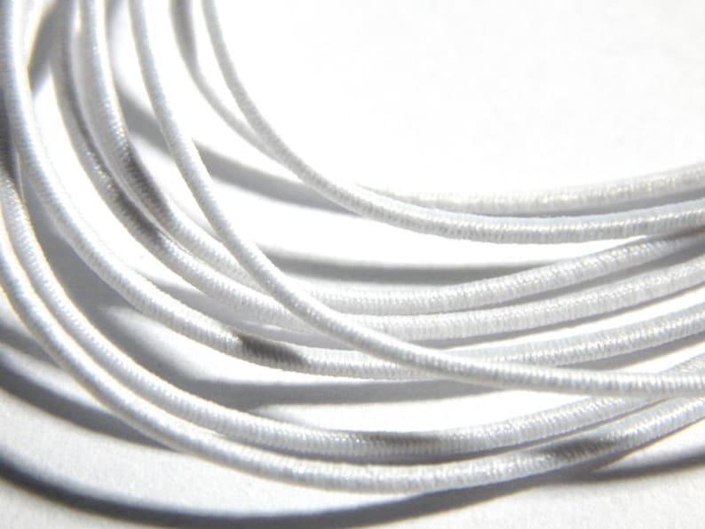 White 1mm round elastic cord trim
