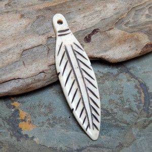 Carved Bone Feather Pendant 60x16mm Feather With Black Etsy