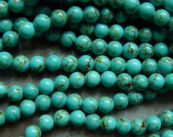 8mm Turquoise Mashan Jade Round Polished Gemstone Beads, Half Strand (INDOC515)