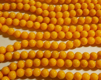 8mm Mustard Yellow Mashan Jade Round Polished Gemstone Beads, Full Strand (IND1C18)
