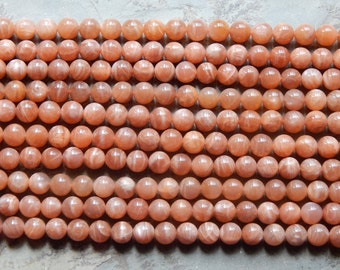 10mm Natural Peach-Brown Sunstone Polished Round Semi-Precious Beads, Half Strand (IND2C77)