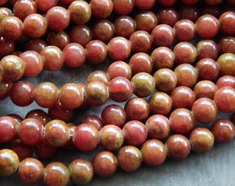 8mm Red Green Mashan Jade Round Gemstone Beads, Half Strand (INDOC565)