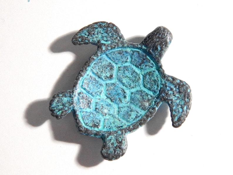On Sale 43X43mm Large Elaborate Sea Turtle Green Patina Verdigris Greek Mykonos Casting Pendant N2-Ing1M76 1 PC