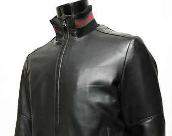Italian handmade Men soft Genuine leather bomber jacket color Black