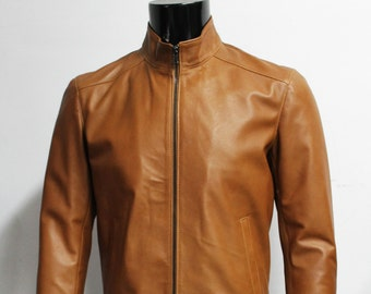 Italian handmade Men genuine lambskin leather jacket color Natural Tan