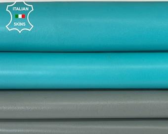 PACK OF 2 SKINS grey & turquoise Italian goatskin goat leather skin skins hide hides 9sqf 1.1mm #A8001