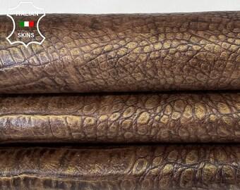 BROWN  DISTRESSED BRONZE antiqued crocodile embossed vintage vegetable tan Italian goatskin leather skin hide 8sqf 0.7mm #A7970