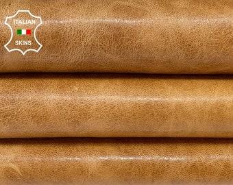 SAND BROWN SHINY vintage look vegetable tan Italian Lambskin Lamb Sheep leather skin skins hide hides 6sqf 1.0mm #A8497