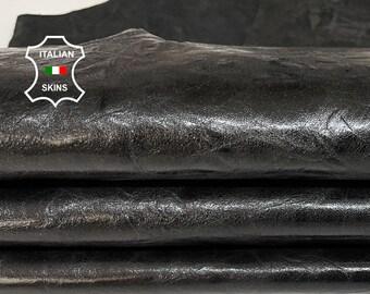 SHINY BLACK ANTIQUED rustic vegetable tan Italian Goatskin Goat leather skin hide skins hides 7sqf 1.0mm #A7762