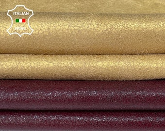 PACK 2 colors GOLD & BORDEAUX crackled vintage look Italian genuine Lambskin Lamb leather 2 skins hides total 16sqf 1.0mm #A7509