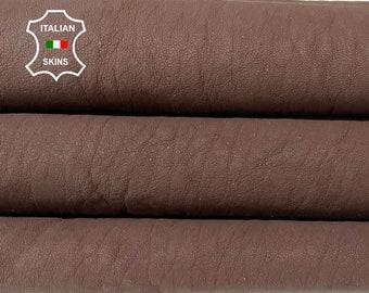 WASHED BROWN MATTE coated rough vegetable tan Italian goatskin goat leather skin skins hide hides 6sqf 1.1mm #A8448