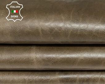 OLIVE BROWN ANTIQUED rustic vintage look vegetable tan soft Italian lambskin lamb sheep leather hides hide skin skins 7sqf 0.8mm #A8299