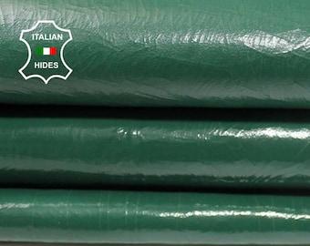 PATENT GREEN CRACKED crackled Italian genuine Lambskin Lamb Sheep leather skin hide skins hides 6sqf 1.3mm #A4276