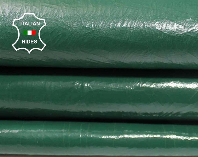 PATENT GREEN CRACKED crackled Italian genuine Lambskin Lamb Sheep leather skin hide skins hides 6sqf 1.3mm #A4276