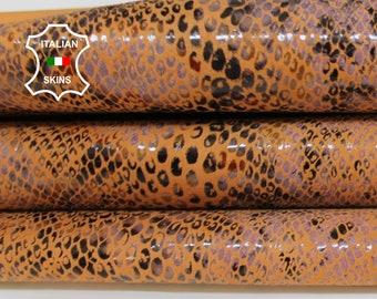 TANGERINE PYTHON SNAKE print textured Italian Goatskin Goat leather hide hides skin skins 7-8sqf 0.8mm #A6884