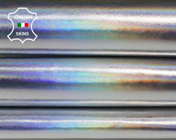 METALLIC HOLOGRAPHIC IRIDESCENT silver genuine Italian Calfskin Calf leather skin hide skins hides 4-7sqf 1.0mm #A6378