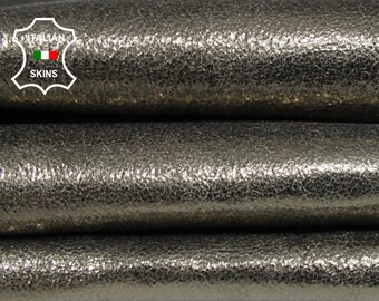 METALLIC CRISPY PEWTER rough Italian Goatskin Goat Leather 2 skins hides total 10sqf 1.0mm #A6825