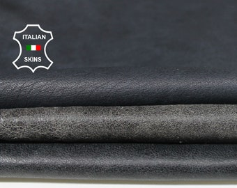 BLACK BLUE PETROL pack 3 skins vintage look distressed soft Italian Lambskin Lamb Sheep leather 3 skins hides total 24sqf 0.7mm #A7041