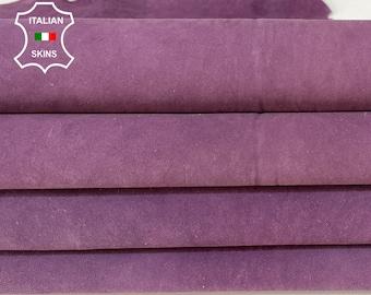NUBUCK VIOLET PACK vintage vegetable tan Italian goatskin goat leather pack 2 skins total 14sqf 1.6mm #A8463