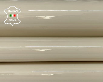 BEIGE PATENT SHINY wet look strong Italian calfskin calf cow leather hide hides skin pack 3 skins total 9sqf 1.0mm #A8232