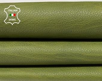 GREEN AVOCADO ANTIQUED distressed Italian calfskin calf cow leather skin skins hide hides 6sqf 1.0mm #A8377