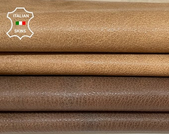 WALNUT BROWN and sand tan rough vegetable tan thick Italian goatskin goat leather pack 2 skins total 10sqf 1.2mm #A8399